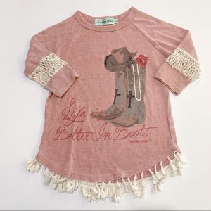 SOUTHERN GIRL TASSELS & ACCENT LACE SLEEVE SZ 6-8Y